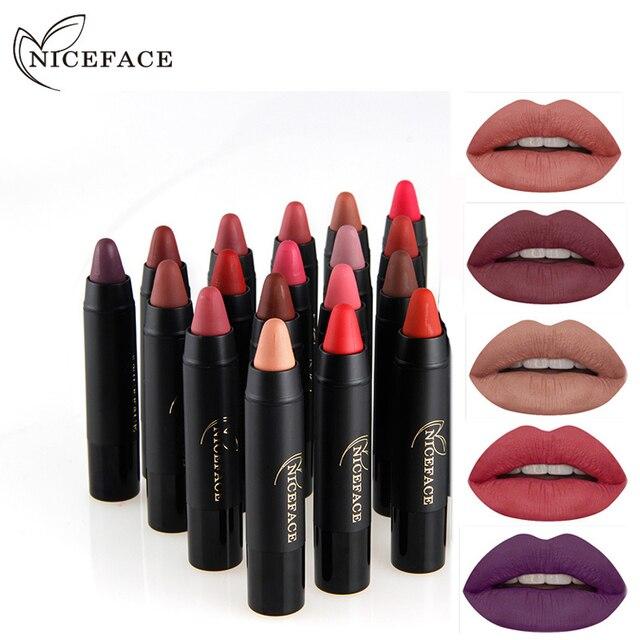 NICEFACE Waterproof matte Lipstick Pencil makeup Matte Lips Pigment Nude  Lipstick Long Lasting Mate batom sexy 31062f035901