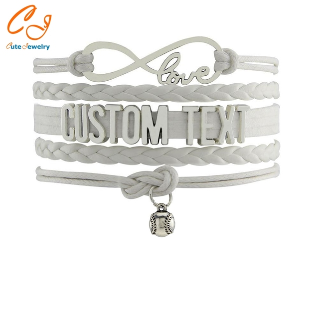 Drop Shipping Infinity Bracelet Custom Text Colorful Leather Cord Wrap Bangle Baseball Christmas Gift