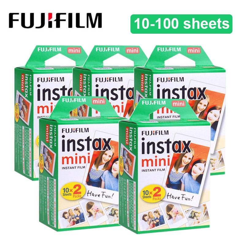 10-100 feuilles Fujifilm Instax Mini 9 Film blanc bord 3 pouces papier Photo pour Polaroid FUJI Instant Mini 9 8 7 s 70 90 appareil Photo