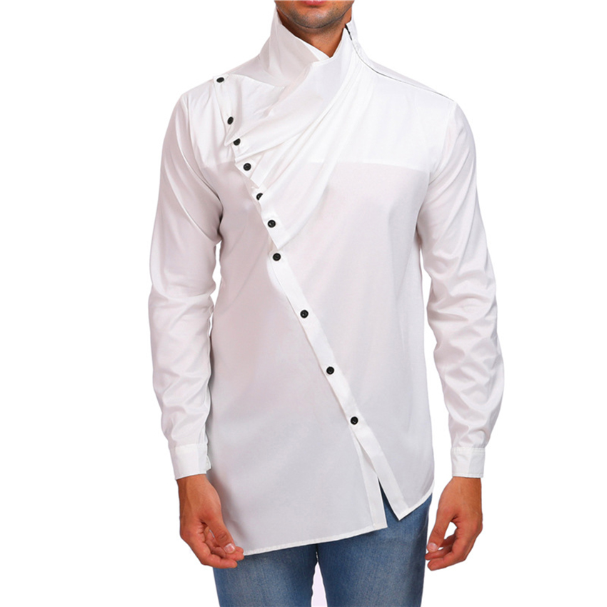 Men's Fashion Long Sleeved Shirt Solid Color New Design