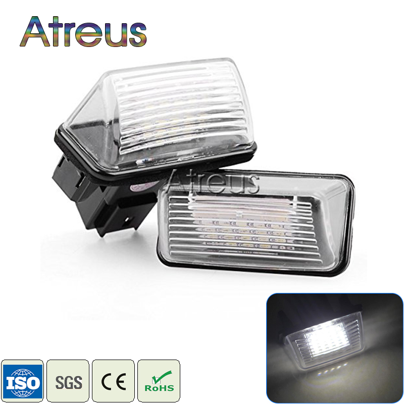 Atreus Car LED License Plate Lights 12V For Peugeot 307 206 207 306 308 Citroen C4 C5 C3 XSARA White SMD LED Number Plate Lamp 2pcs led license number plate light for peugeot 206 207 306 307 308 5008 406 407 for citroen picasso c3 c4 c5 c6 saxo xsara