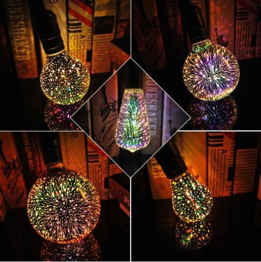 3D Galaxy Light Bulb LED Light 3D Star Fireworks Effect Night Light ST64 A60 G80 G95 G125 Home Garden Decor Diamond Galaxy Bulbs