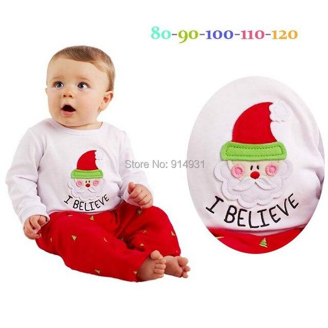Clearance Baby Boys Girls Clothing Sets White Long Sleeve Santa