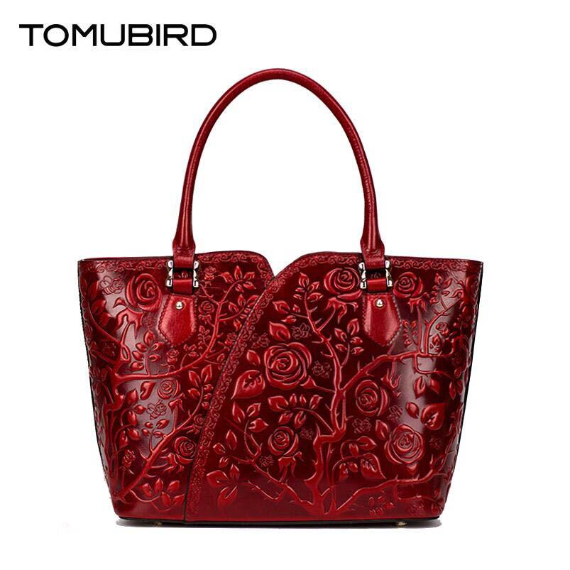 Luxus Leder Umhängetasche Taschen Tasche Überlegene dark Rindsleder Geprägte Handtaschen Purple Red Tomubird Aus Frauen Designer Echtem purple HtPqxp7