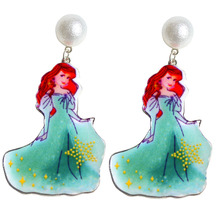 SANSUMMER Girl Drop Earrings 2019 New Style Fairy Tale Princess Cartoon Alloy Hand-Made Sticker Cute Pearl Ear Nail 258