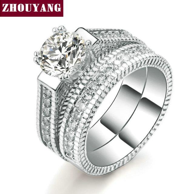 Zhouyang Wedding Ring Set For Women Luxury Cubic Zirconia 2 Rounds