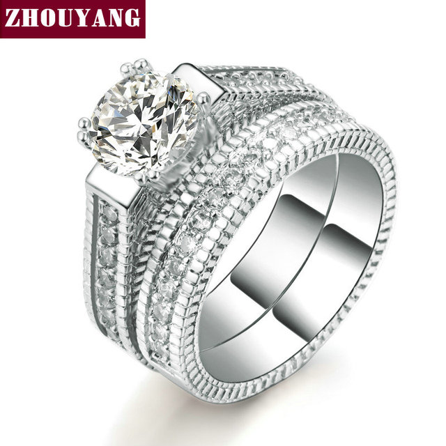 Zhouyang Wedding Ring Set For Women Luxury Cubic Zirconia 2 Rounds Bijoux Silver Color Fashion Jewelry