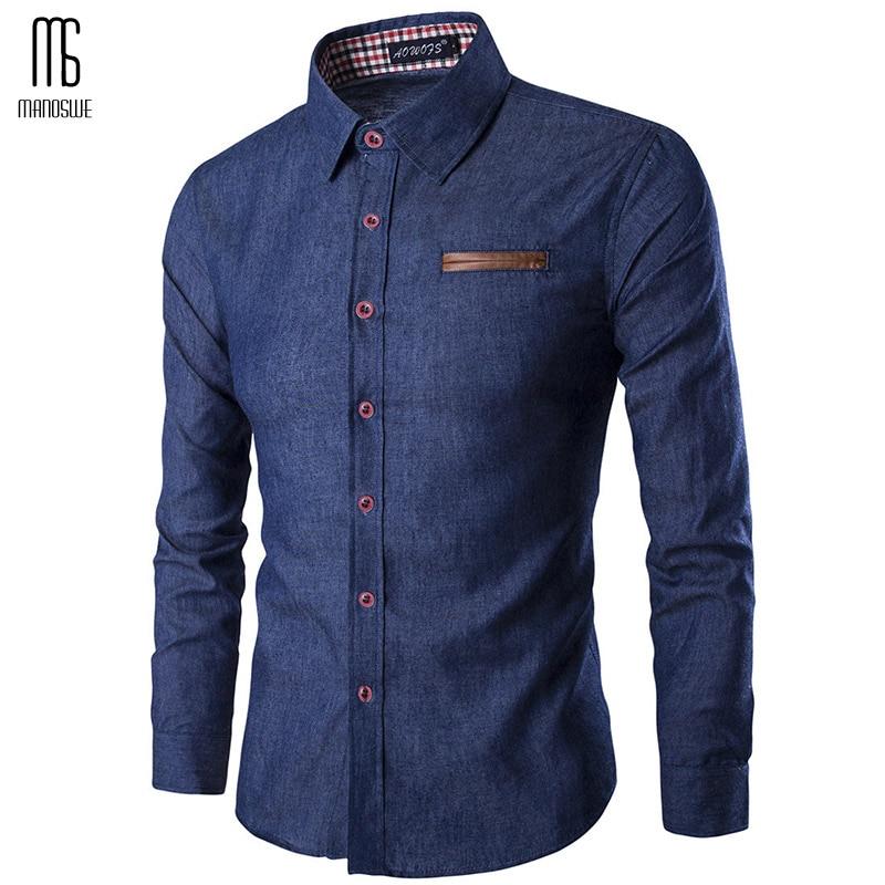 Manoswe Spring Autumn 2019 Fashion Mens Denim Shirt Slim Men's Shirt Long Sleeve Cardigan Casual Shirts Tops Clothing Jeans 3xl