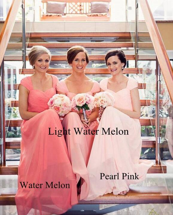 Water Melon Long   Bridesmaid     Dresses   Capped Sleeves Sweetheart Ruffled Floor Length Semi Formal   Dresses   Plus Size   Dress   New 2017