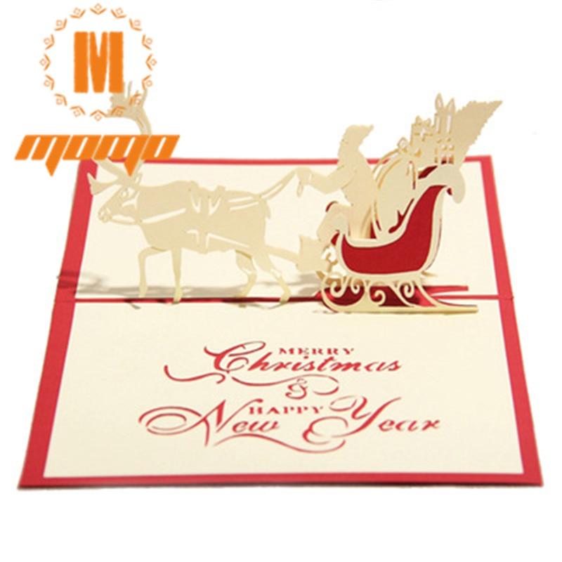 3pcs/set  Merry Christmas Day 3D Pop up Greeting Card Postcard Matching Envelope Laser Cut Handmade Post Card MM 3pcs 3 175x15mm up