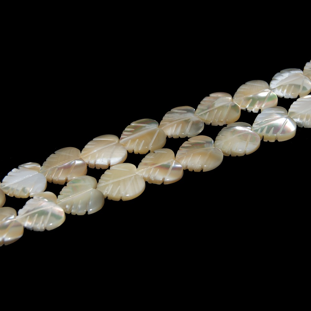 Wholesale 2 Colors Natural Leaf Shape Trochus Top Shell Stone White Beads For Jewelry Making Charm DIY Bracelet Necklace Strand in Beads from Jewelry Accessories