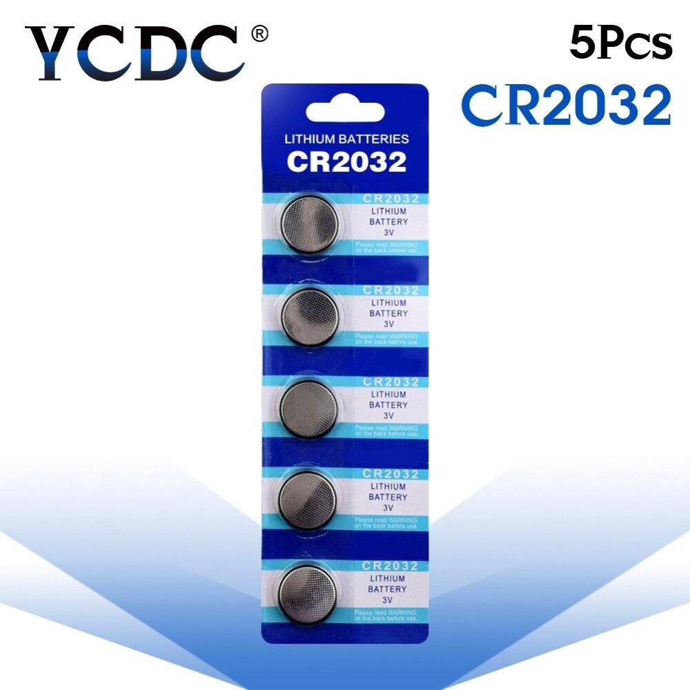 YCDC 5 Pcs 3V Button battery CR2032 Lithium Coin Cells Button Battery 5004LC ECR2032 DL2032 KCR2032