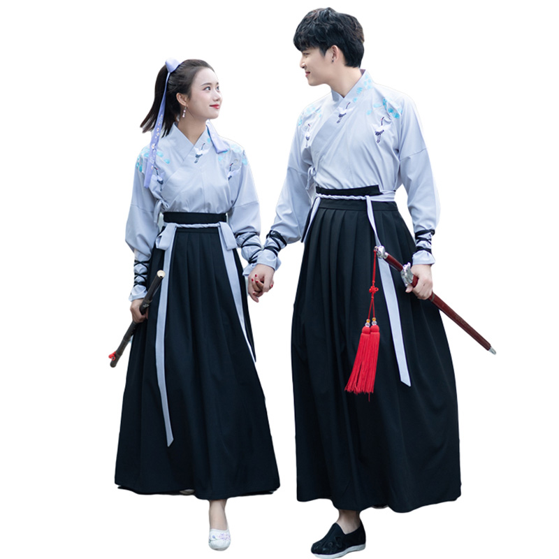 Hanfu Men Women Classical Dance Costume Folk Festival Outfit Rave Fairy Dress Crane Embroidery Performance Clothes 2 Pcs DF1116