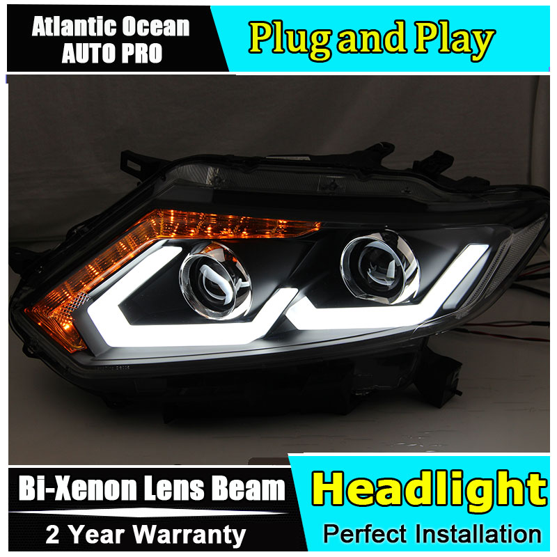 Car Styling for Nissan X Trail Headlights for 2014 2016 Nissan Rogue LED Headlight DRL Lens