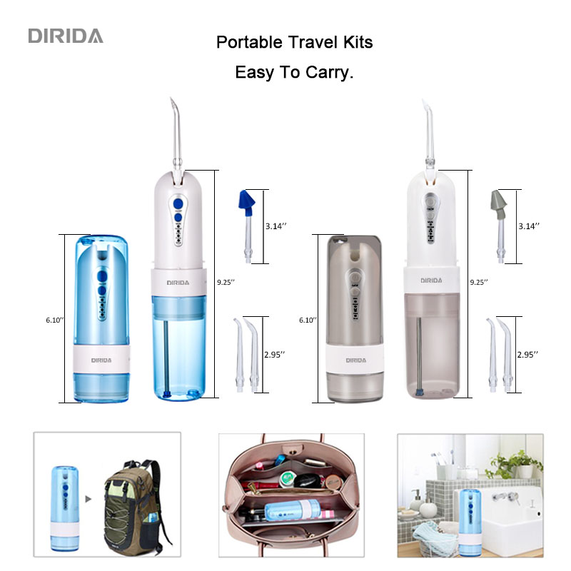 Cordless Water Dental Flosser Portable Fold Oral Irrigator USB Rechargeable 4 Modes New Dental Irrigator 200ML with 5 Jet Tips