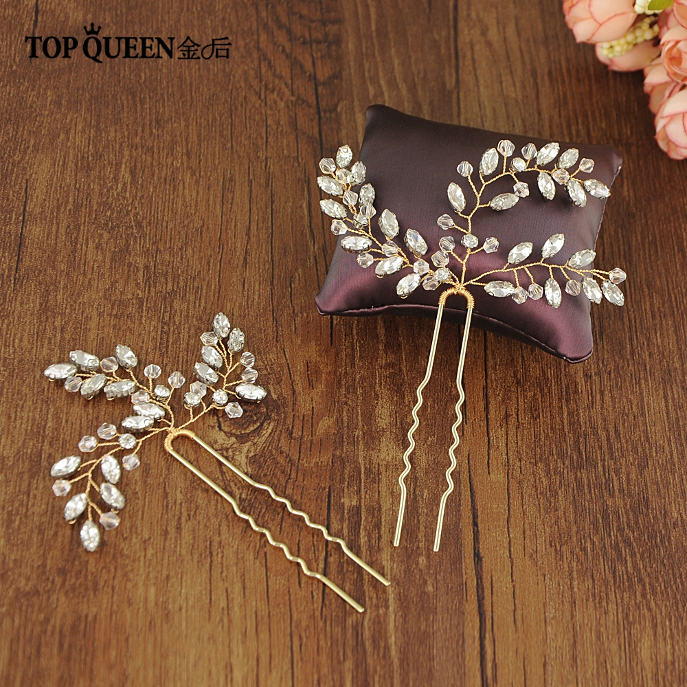 TOPQUEEN Wedding Headpiece Rhinestone Wedding Hair Accessories Pins Gold Wedding Hair Clip Bride Hair Comb For Bride HP60