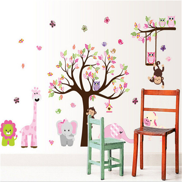 T04032 eco friendly lovely owl wall stickers animal jungle giraffe tree creative nursery baby kids