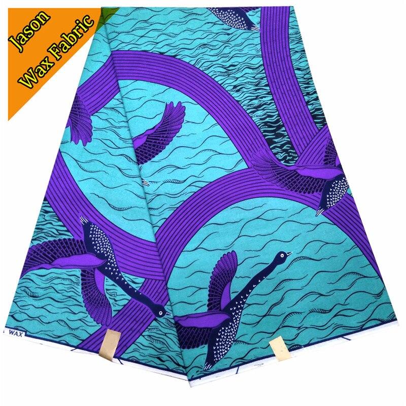 2018 Ankara style African wax block prints fabric real wax purple & light blue prints fabric for sewing dress LBL