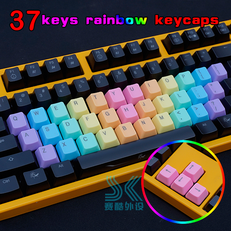 <font><b>14</b></font> 37 Keys Mechanical Keyboard <font><b>keycaps</b></font> Colorful red OEM Height ABS Light Color Gradual Change Double color dip-dye key Caps image