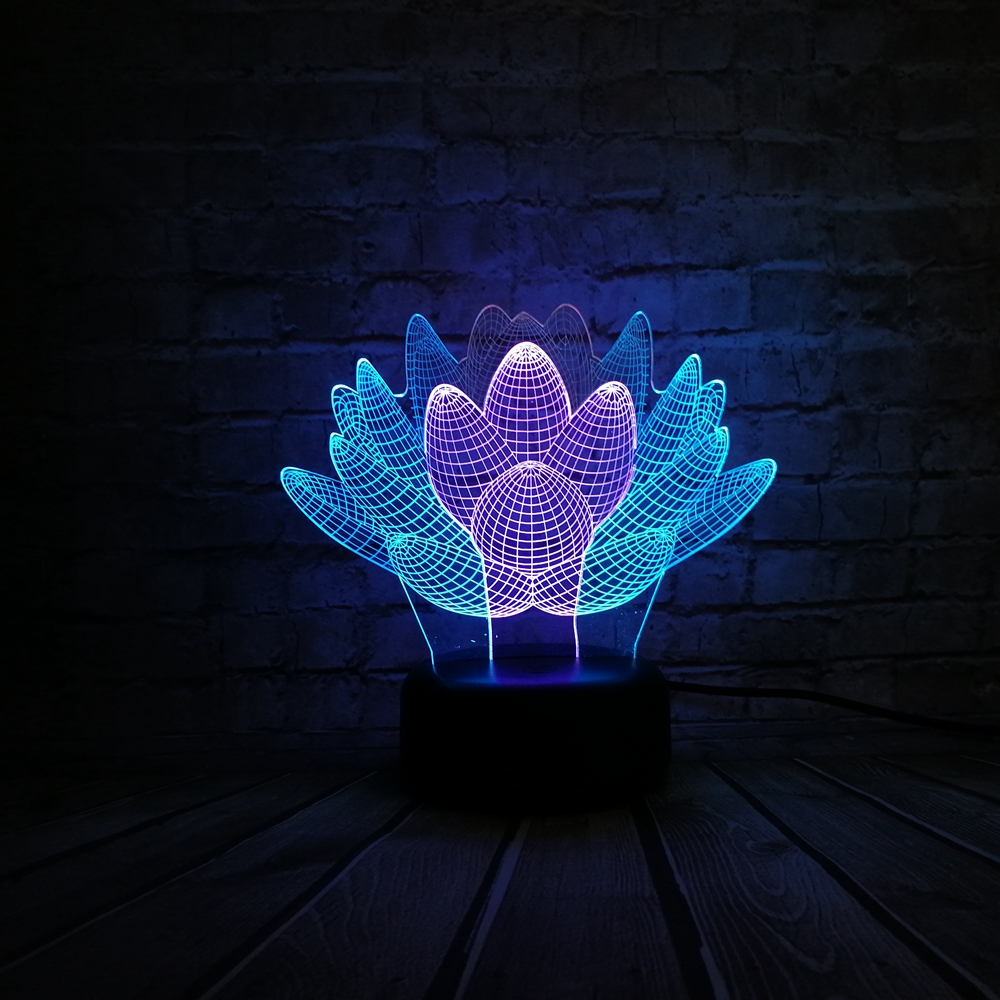 New 3d Lamp Succulent Plants Lotus Flowers Mixed Multicolor Usb