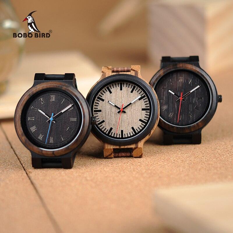 e585b7e77f7 BOBO PÁSSARO Novo Luxo Relógios de Madeira Homens e Mulheres de Couro  Relógio De Quartzo De