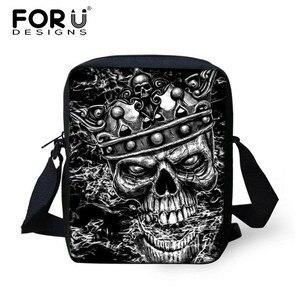 FORUDESIGNS Small Skull Messenger Bags for Men,Male Cool Skull Crossbody Bags,Kids Boys Mini Shoulder Bags,Mens Cross Body bag