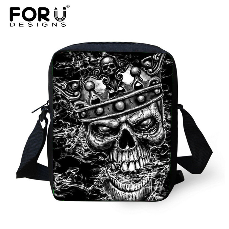 FORUDESIGNS Small Skull Messenger Bags for Men,Male Cool Skull Crossbody Bags,Kids Boys Mini Shoulder Bags,Mens Cross Body bag