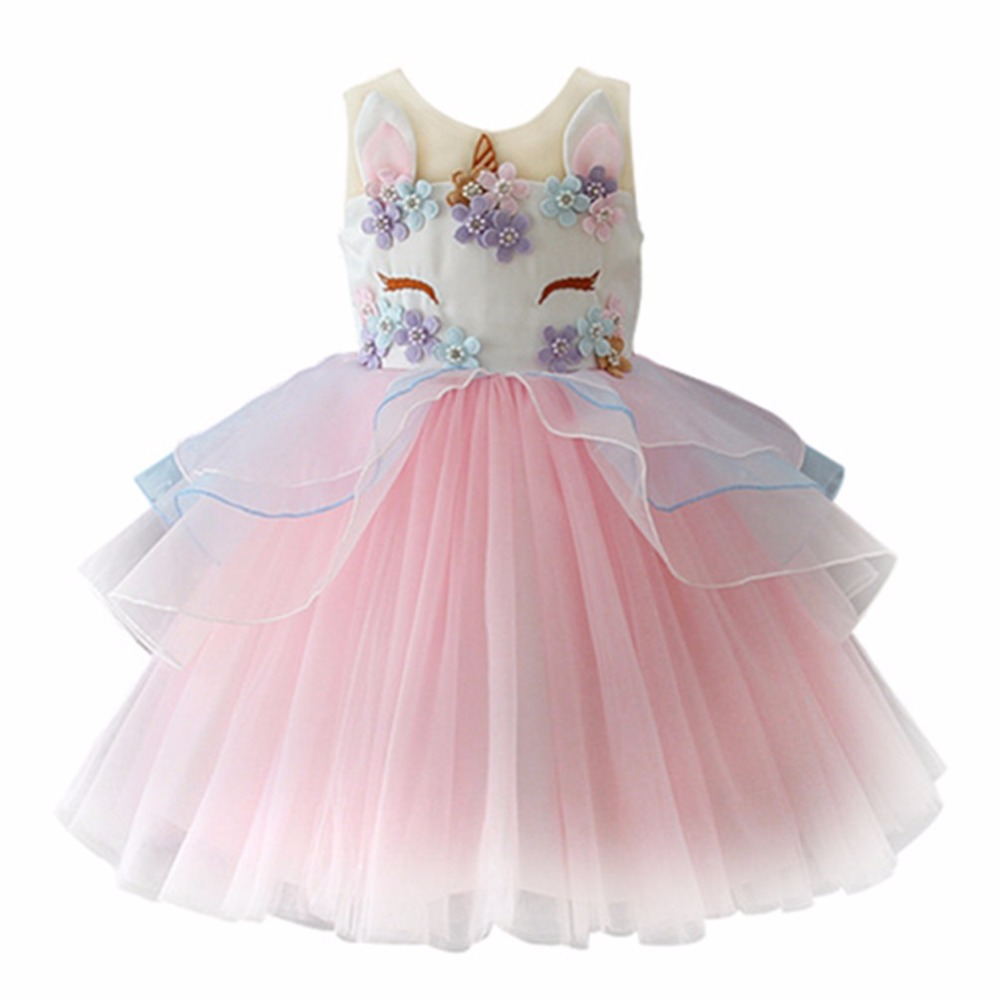 2018 Unicorn Dress for Girls Kids Princess Dresses for Wedding Party Children Clothing Embroidery Ball Gown Robe Fille Cosplay princess children girls dress printed ball gown long sleeve kids party dresses l16