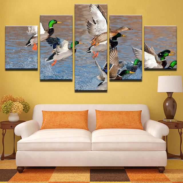 Large Poster HD Printed Painting Canvas Print 5 Panel Mallard Duck ...