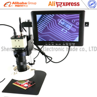 BNC Video microscope kits CCD Digital Industry Microscope+C Mount Lens+LED Light+8 monitor+Stand for soldering BGA PCB repair