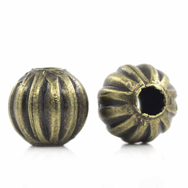 DoreenBeads 亜鉛金属合金スペーサービーズカボチャアンティークブロンズ StripeColor メッキ約 6 ミリメートル径、穴: 約 1.9 ミリメートル、 35 ピース新