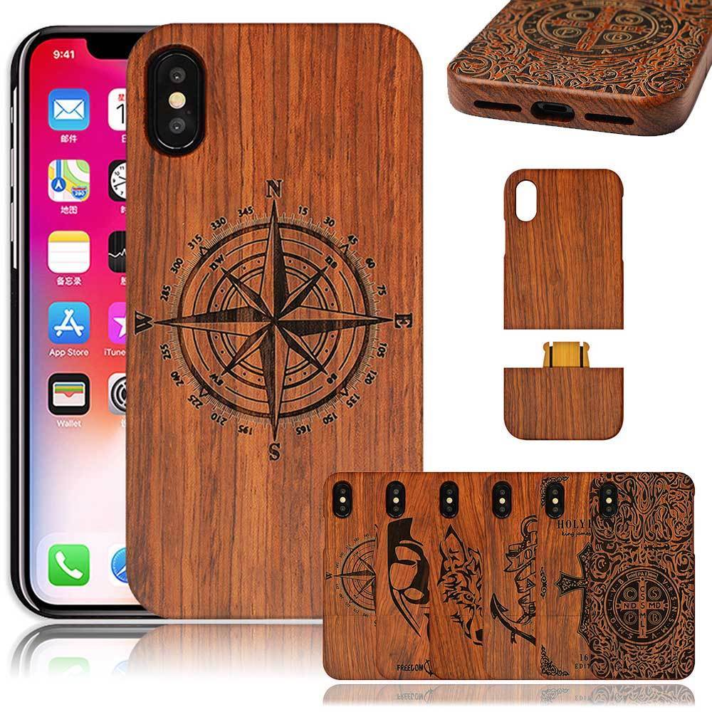 US $12 14 55% OFF|S8 S7 WOLF Compass Flower Laser Wood Phone Cases Luxury  Coque Capa Wooden Bamboo Cover For iPhone X 7/For Samsung Galaxy S8 S7-in