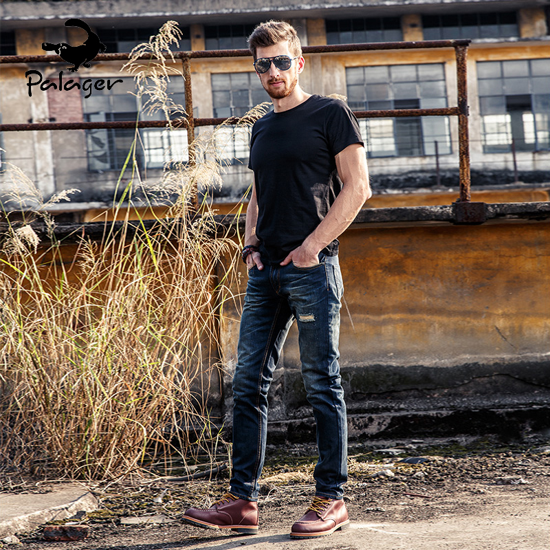 2017 New Fashion Jeans Men Denim Blue Ripped Jeans Trousers High Quality Cotton Mens Brand Jeans Male FH60035