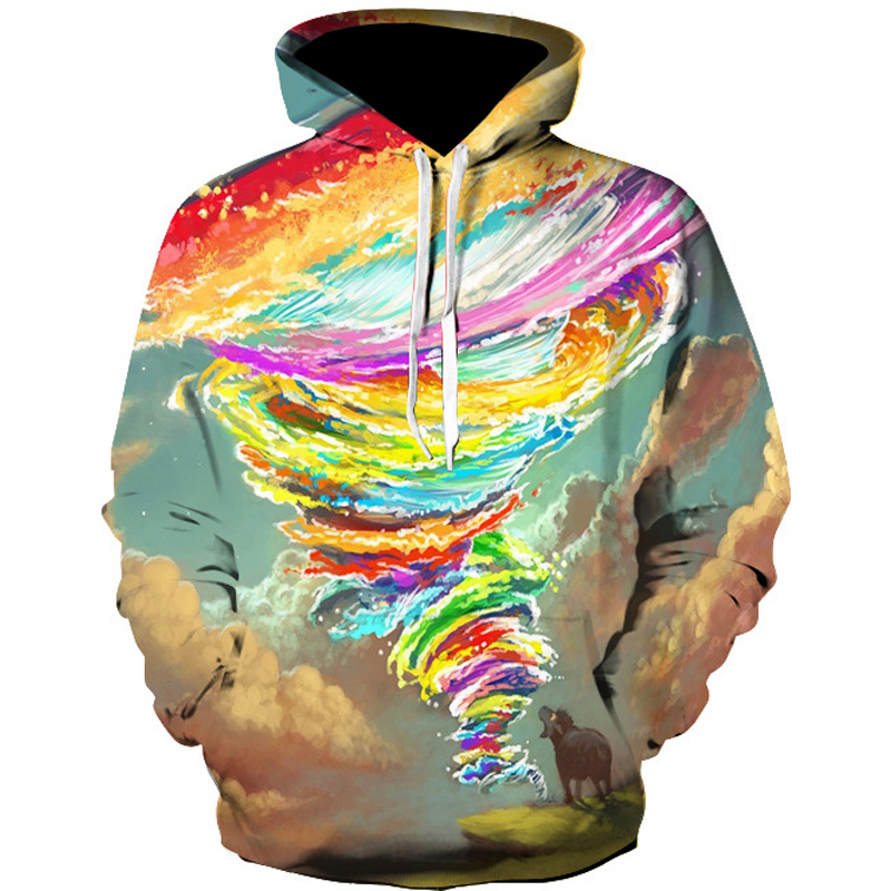 2017 New Sweatshirts Men Women Hooded Hoodies Sky Multiclolor Tornado 3d Print Pullovers Hoody Outerwear Galaxy Hoodie Men