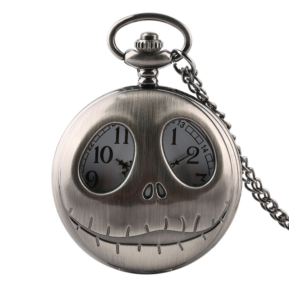 Unique Design The Nightmare Before Christmas Quartz Pocket Watch Necklace Skull Watches Men Women Gifts For Kids Male Clock