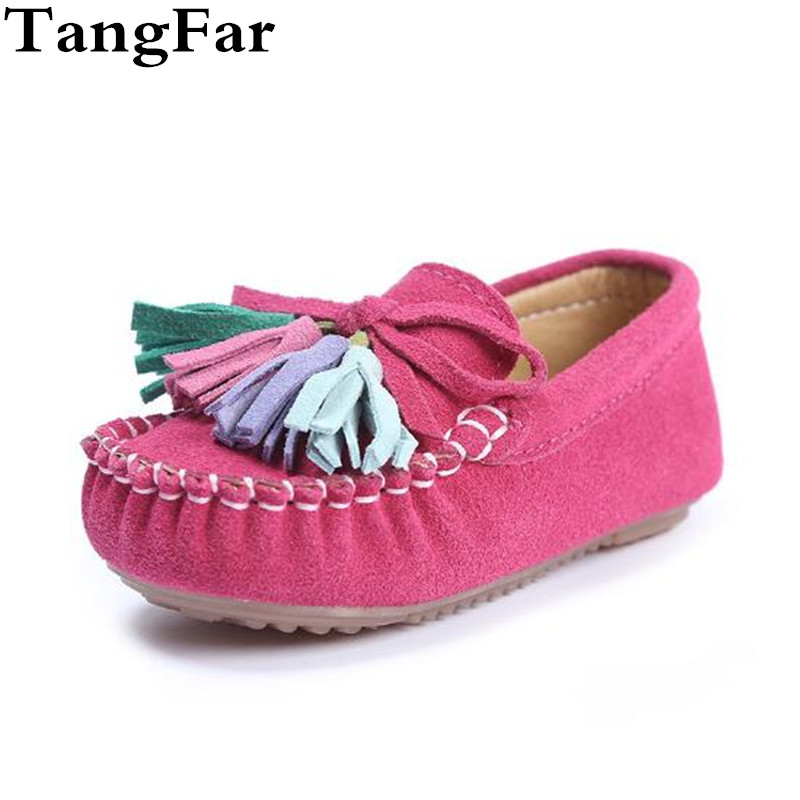 Girl Tassels Suede Moccasins Square Toe Anti-slip Fashion Bow Princess Causal Sneaker Cozy Pink Rose Child Shoes