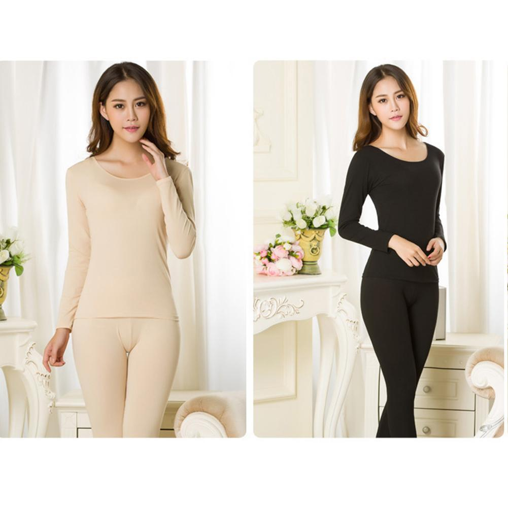 Solid Color Women's Men Thermal Underwear Warm Winter Pajamas Female Elegant Black O-neck Long Johns Women Thermo Clothes