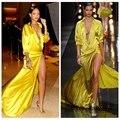 Made Plunge V Neck Alta Fenda Mangas Compridas Rihanna Famoso longos Vestidos de Celebridades No Tapete Vermelho preto Amarelo Vestidos De Noite mais siz