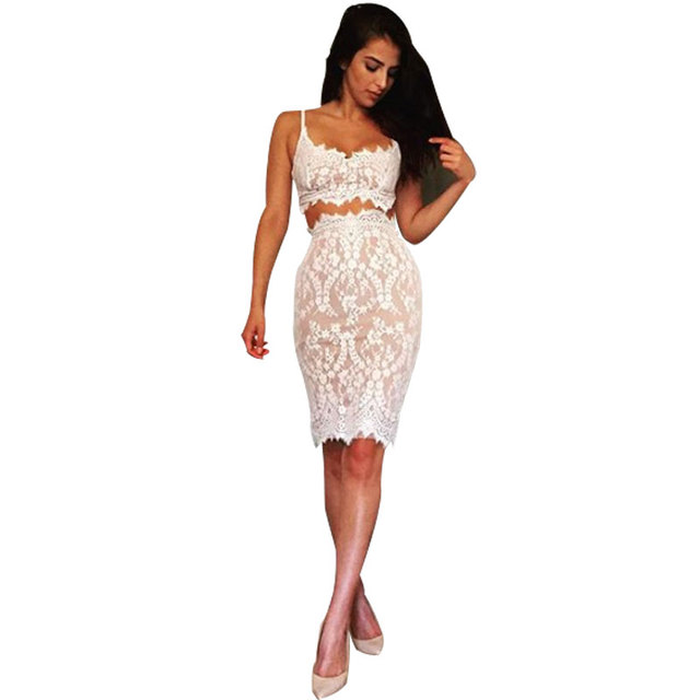 aa23d309d52a4 sexy summer women bandage eyelash lace dress two piece Bodycon sheath  Sleeveless lace slip lace crochet dress