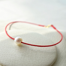Womens Bracelet Natural Freshwater Pearl 18K Gold Tail Buckle Red Rope Braided Hand Strap Surround 13-20cm Customized