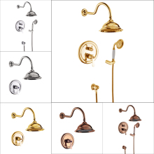 Polished Chrome gold Single Handle 8 Rainfall Shower Faucet Wall Mount Bathroom Shower Mixer Taps
