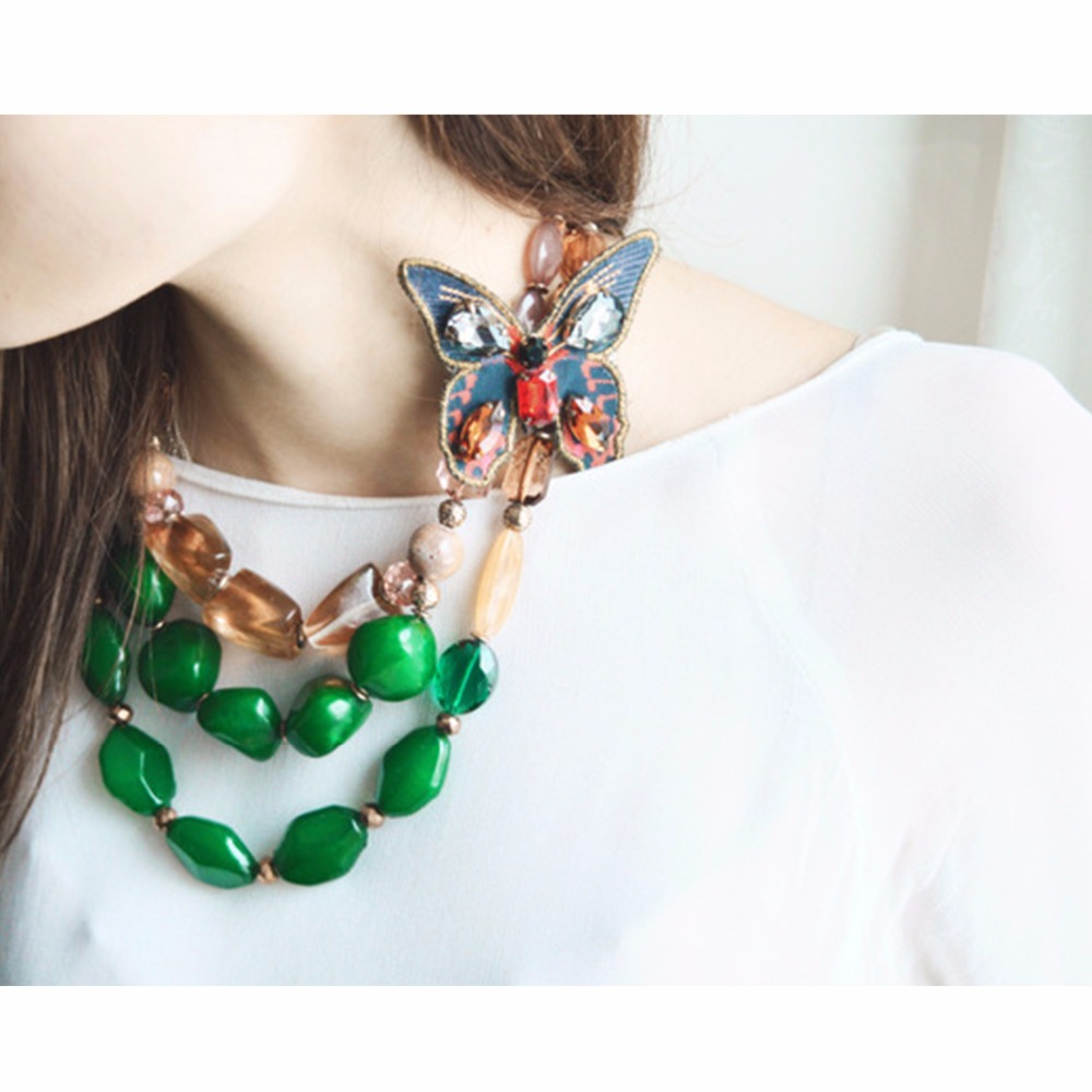eManco Ethnic Retro Style Trending Multi Layers Necklace for Women Green Resin Butterfly Fashion Jewelry Detachable Accessories
