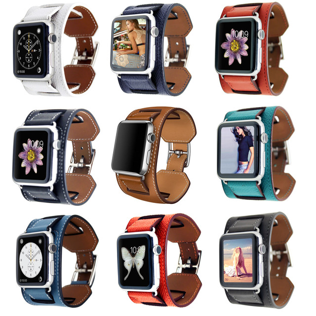 9 Colors Genuine Leather Cuff Band Bracelet for Apple Watch Series 2 Wrist Strap for Apple Watch iWatch 1st 2nd Wristband