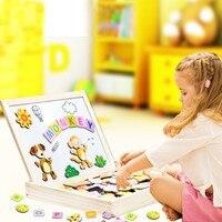 Animale di Puzzle Magnetico Lavagna Lavagna Tavolo Da Disegno Multifunzionale Di Legno Lavagna Bordo Cavalletto Arti Giocattoli Per Bambini Bambini