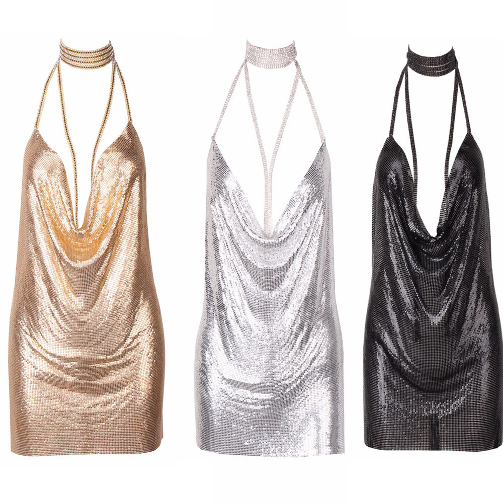6f5380a2 3colors Sexy Shinning Women Backless Sequin Dress Ladies Plunge Slip Kendall +Chain Choker2017-in Dresses from Women's Clothing on Aliexpress.com |  Alibaba ...