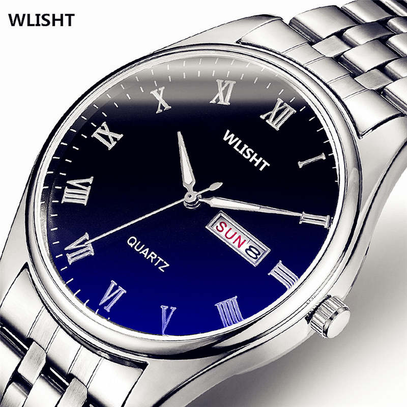 WLISTH Stainless Steel Wrist Watch Men Watches Black Dial Silver Belt Fashion Male Quartz Clock Waterproof Man Simple Now FD1382 golden silver transparent hollow dial quartz men wrist watch stainless steel band casual sport watches man analog male clock gif page 9