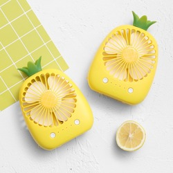 2018 Newest Cute Mini Cartoon Pineapple Fan 3 Colors USB Electric Mini Hand Portable Fan For Summer Gift