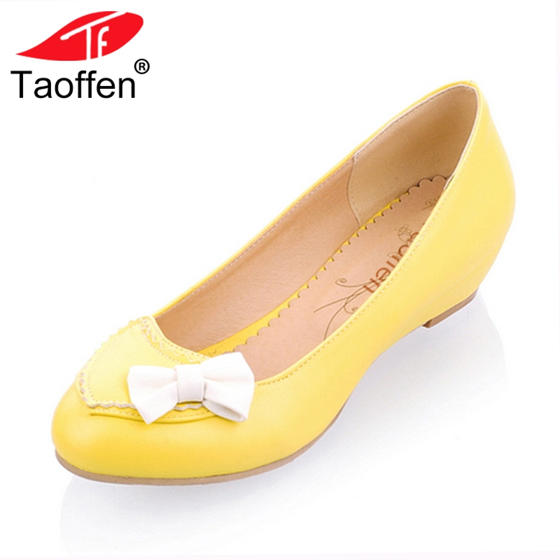 TAOFFEN Size 33-43 Office Lady Flats Shoes Woman Bowtie Solid Color Round Toe Flat Shoes Women Wedding Party Club Women Shoes
