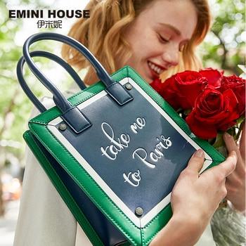 EMINI HOUSE Paris Series Tote Bag For Women Shoulder Bags Luxury Handbags Women Bags Designer Split Leather Purses And Handbags Shoulder Bags