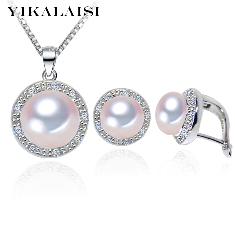 YIKALAISI 2017 100% Natural Freshwater Pearl Pendant Earrings 925 sterling silver Jewellery Sets Zircon Jewelry For Women yikalaisi 2017 natural freshwater pearl necklace sets pendant drop earrings 925 sterling silver jewelry for women best gifts
